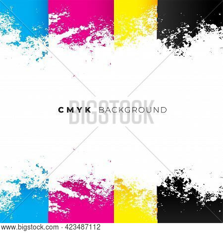 Abstract Cmyk Watercolor Background Vector Template Design