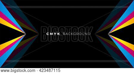 Geometric Black Background With Cmyk Colors  Vector Template Design