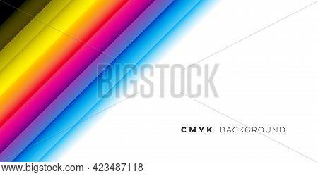 Rainbow Cmyk Colors Line Stripe Background Vector Template Design