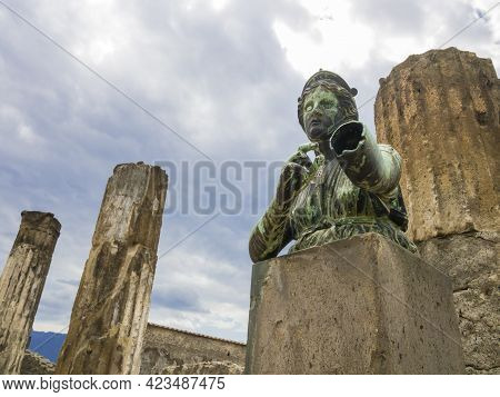 Stunning Bronze Statue Depicting An Old Roman Vestal In The Archaeological Site Of Pompeii, Ancient