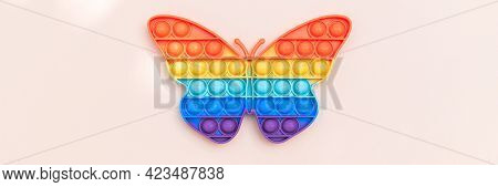 Rainbow Push Pop It Bubble Sensory Fidget Toy In Form Of Butterfly, Sensory Silicone Toys For Autism