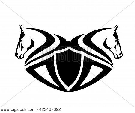 Two Horse Heads And Heraldic Shield - Equestrian Sport Black And White Vector Emblem Design