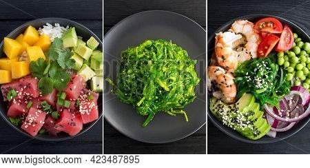 Collage Of Poke Salad. Poke Salad And Salad With Seaweed In The Bowl On The Black Wooden Background.