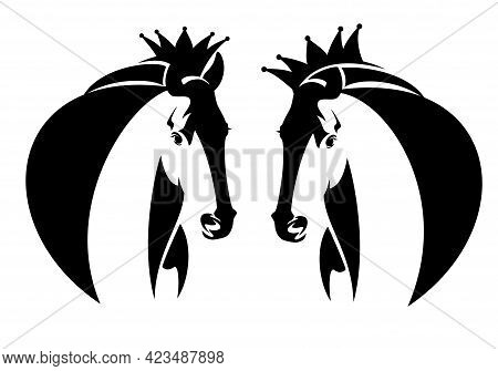 Wild Mustang Stallion Wearing King Crown - Royal Horse Profile Head Black And White Vector Portrait