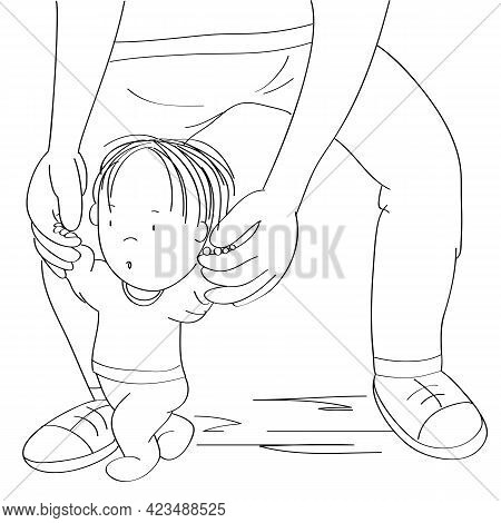 Little Baby Boy Learning To Walk. Young Father Helping His Son, Holding The Toddler, Making First St