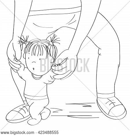 Little Baby Girl Learning To Walk. Young Father Helping His Daughter, Holding The Toddler, Making Fi