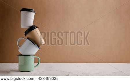 Zero Waste Products. Set Of Recycle Coffee Cup. Reduce Plastic Packaging. Environment, Ecology Care,