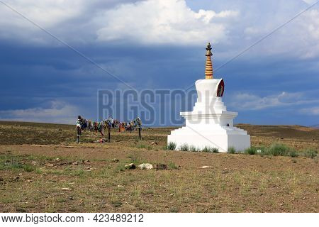 Stupa Is A Buddhist Architectural And Sculptural Religious Building With Hemispherical Outlines. Ori