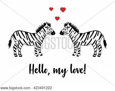 Romantic Couple Of Zebras On A White Background. Zebra Enamored Black And White Graphic Illustration