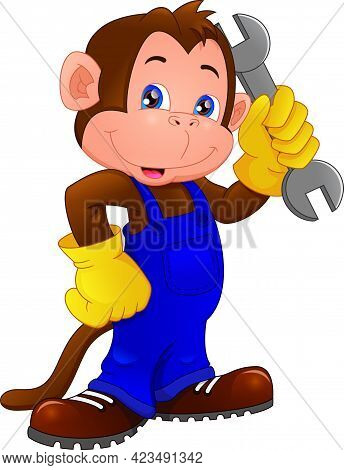 Cute Monkey Cartoon Holding Wrench On A White Background
