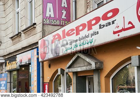 Gdansk, Poland, Oct 4, 2018: Signboard Of Aleppo Restautrant Offering Traditional Syrian Cuisine.