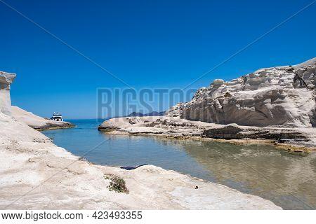 Sarakiniko Beach At Milos Island, Cyclades Greece. White Rock Formations, Turquoise Water