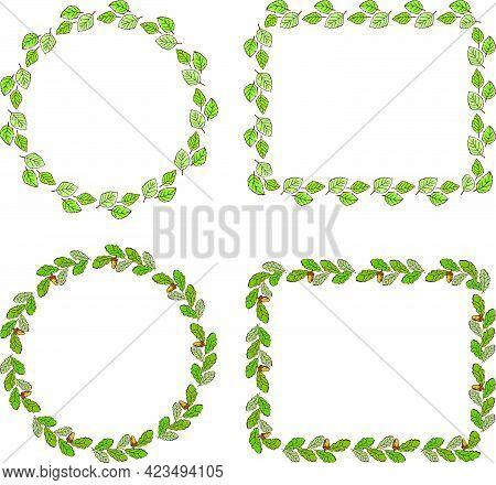 Set Of Decorative Frames From Oak And Linden Leaves