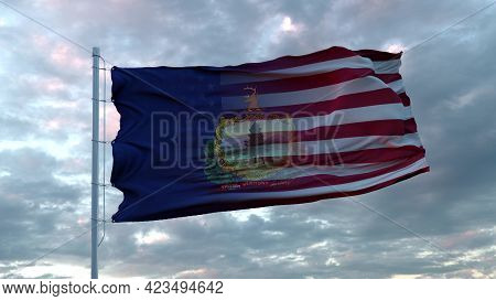 Usa And Vermont Mixed Flag Waving In Wind. Vermont And Usa Flag On Flagpole. 3d Rendering