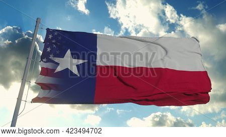 Flag Of Usa And Texas State. Usa And Texas Mixed Flag Waving In Wind. 3d Rendering