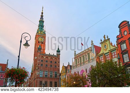 View Of Dlugi Targ Or The Long Market, The Main Tourist Attraction Of Gdansk, Poland. Many Beautiful