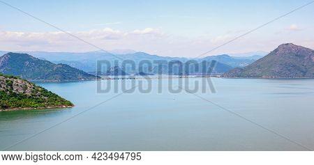 Montenegro, National Park Lake Skadar. Beautiful Landscape With Lake  Skadar And Mountains On Sunny