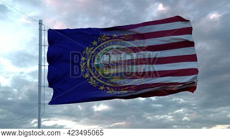 Usa And New Hampshire Mixed Flag Waving In Wind. New Hampshire And Usa Flag On Flagpole. 3d Renderin