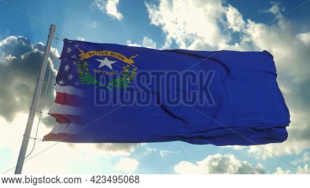 Flag Of Usa And Nevada State. Usa And Nevada Mixed Flag Waving In Wind. 3d Rendering