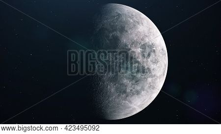 Realistic Full Moon. Moon Spinning In Open Space Over Stars. 3d Rendering