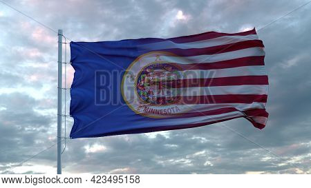 Usa And Minnesota Mixed Flag Waving In Wind. Minnesota And Usa Flag On Flagpole. 3d Rendering