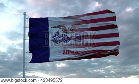Usa And Iowa Mixed Flag Waving In Wind. Iowa And Usa Flag On Flagpole. 3d Rendering