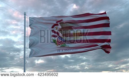 Usa And Illinois Mixed Flag Waving In Wind. Illinois And Usa Flag On Flagpole. 3d Rendering