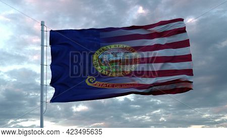 Usa And Idaho Mixed Flag Waving In Wind. Idaho And Usa Flag On Flagpole. 3d Rendering