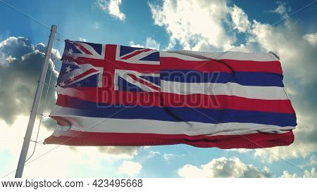 Flag Of Usa And Hawaii State. Usa And Hawaii Mixed Flag Waving In Wind. 3d Rendering
