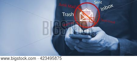 Email Concept With Laptop Spam And Virus Computer Monitor Internet Security Concept, Businessman Rea