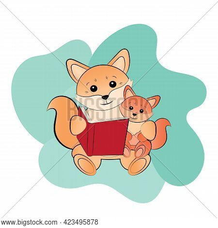 Mom Fox Is Reading A Book With Her Child. Cute Vector Illustration For Mothers Day. Can Be A Postcar