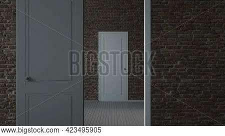 Endlessly Opening White Doors Background. 3d Rendering