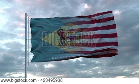 Usa And Delaware Mixed Flag Waving In Wind. Delaware And Usa Flag On Flagpole. 3d Rendering