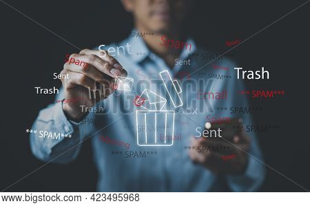 Email Concept With Laptop Spam And Virus Computer Monitor Internet Security Concept, Businessman Tou