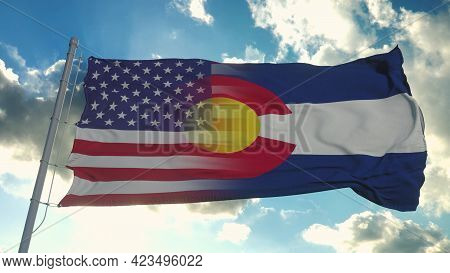 Flag Of Usa And Colorado State. Usa And Colorado Mixed Flag Waving In Wind. 3d Rendering