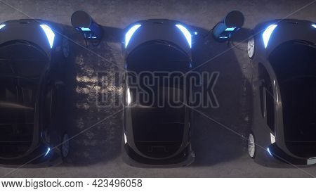 Power Supply For Electric Car Charging. Electric Cars Charging Station. 3d Rendering