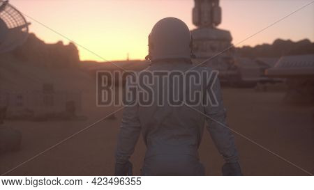 Astronaut On The Surface Of Mars. Mars Colonization Concept. 3d Rendering