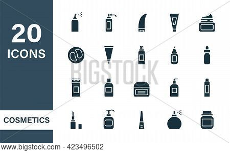 Beauty Cosmetic Products For Body, Skin And Hair Care. Bottles With Spray, Dispenser, Cream Jar, Tub