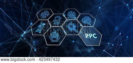 Pay Per Click Payment Technology Digital Marketing Internet Concept Of Virtual Screen. Ppc  3d Illus
