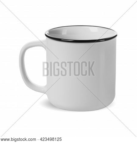 Camp Mug. White Enamel Camping Cup Mockup Isolated Template. Coffee Drink Tin For Custon Engraving.
