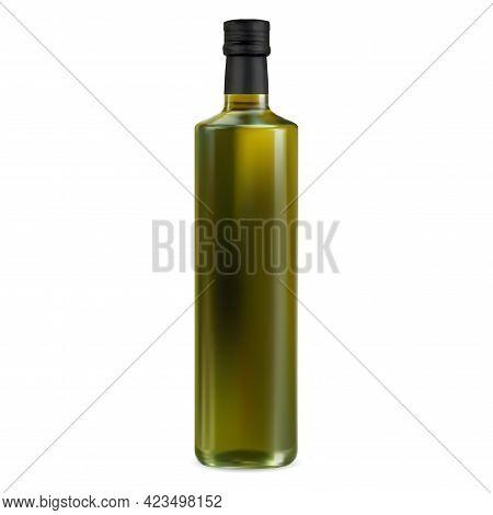 Olive Oil Bottle Mockup. Extra Virgin Green Oil Jar. Food Cooking Product, Organic Vegetarian Diet.