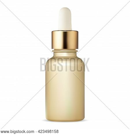 Cosmetic Dropper Bottle. Serum Flask With Pupet. Face Skin Collagen Moisture Can. Golden Flacon For