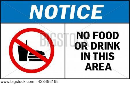No Food Or Drink In This Area Notice Sign. Labels And Stickers.