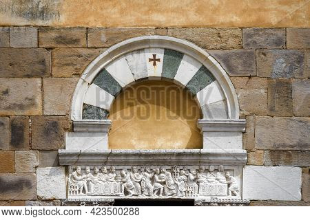 Detail Of The Door And Lintel Of The Church Of Saint Salvatore, Medieval Romanesque Building In The