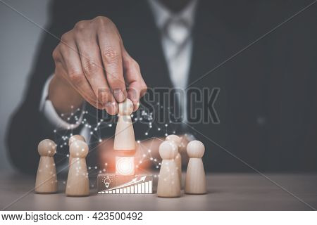 Winners Figures On Pedestal And Losers On The Floor, Leader Figure Standing Out From The Crowd On Th