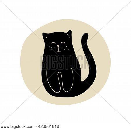 A Black Cat And Moon. Minimalistic Art For Child Room. Print, Postcard. Vector Illustration