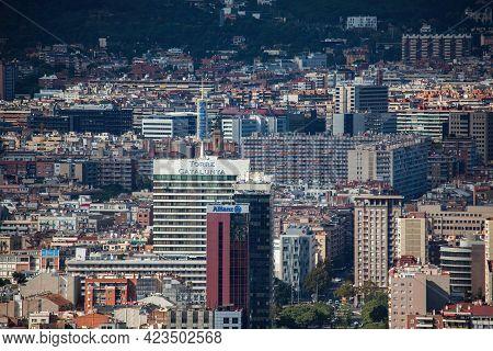 Barcelona, Spain - October 28, 2015: Barcelona Cityscape Overlook From Montjuic Mount, Spain.