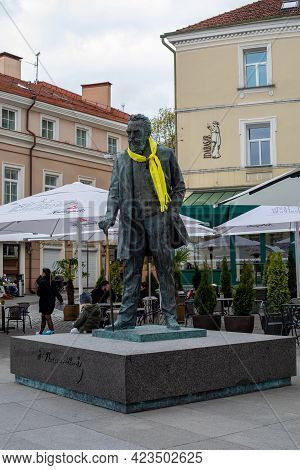 Vilnius, Lithuania - May 8, 2021: Monument Of Jonas Basanavicius Decorated With Yellow Scarf To Supp