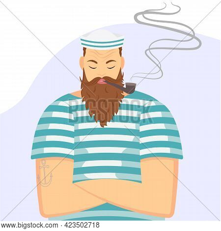 A Sailor In A Striped Shirt Smokes A Pipe. Vector Illustration In A Flat Style.