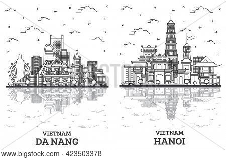 Outline Hanoi and Da Nang Vietnam City Skyline Set with Historic Buildings and Reflections Isolated on White. Cityscape with Landmarks.
